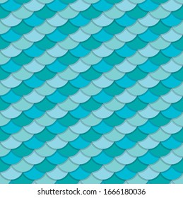 Seamless vector pattern of fish scales. Outlined elements of different shades of blue and turquoise with light shadows creating illusion of volume. Perfect for any marine and seafood design purposes.