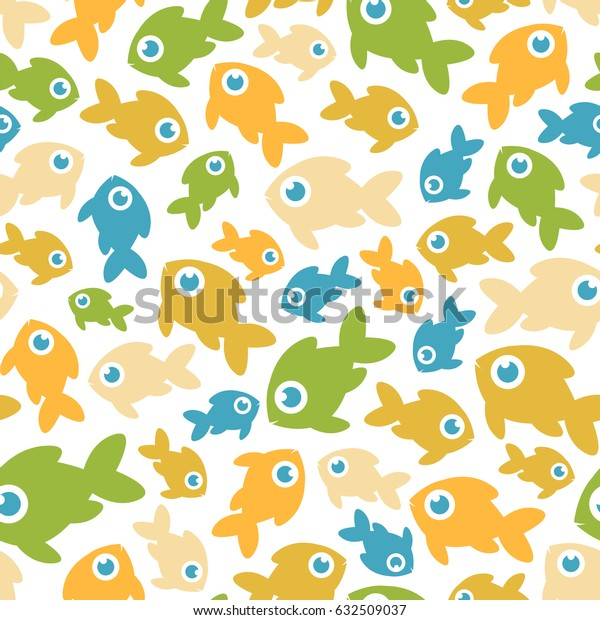 Seamless vector pattern - fishes on white background