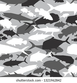 Seamless vector pattern of fishing camouflage. Grey camo of saltwater fish