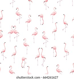 Seamless vector pattern with flamingo flock on white background.