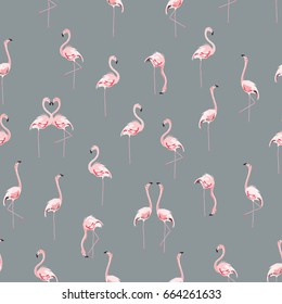 Seamless vector pattern with flamingo flock on grey background.