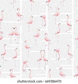 Seamless vector pattern with flamingo flock on white background with imitation of text in newspaper columns. Text unreadable and contains no foreign language.