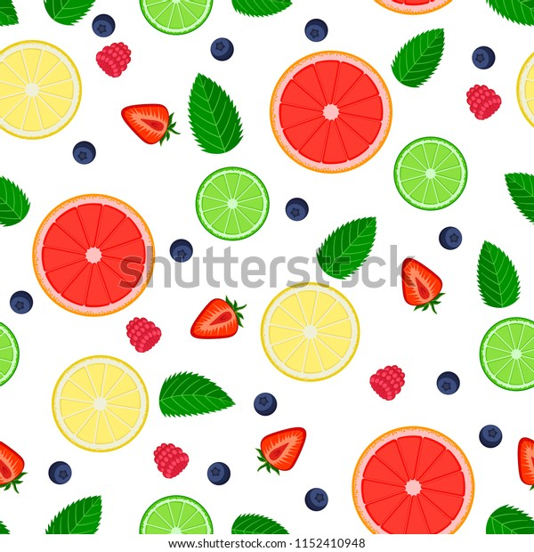 Seamless vector pattern in flat style. Colorful Fruits and berries on  background. Template for background, textile, wrapping, packaging