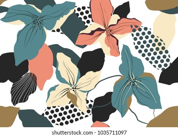 Seamless vector pattern with flowers, abstract forms and dots