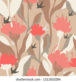 seamless vector pattern with flowers and birds. abstract hand drawn floral buds on gray background. fashion style