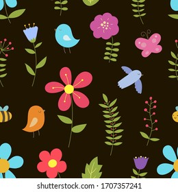 Seamless vector pattern. Flowers and birds. Ideal for fabric, wrapping, wallpaper.