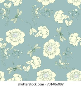 Seamless vector pattern with flowers in chinoiserie style for scrapbooking, Save the date card, postcard, flyer or wedding invitation, wallpaper, wrapping paper. Blue background.