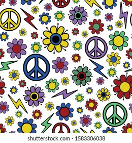 Seamless vector pattern with flowers and peace symbol. 70's, 60's fabric design. Colourful vintage wallpaper.