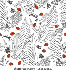 Seamless vector pattern with forest plants and insects on white. Floral art background. Perfect for design templates,  wallpaper, wrapping, fabric and textile.