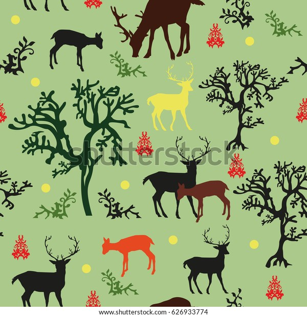 Seamless vector pattern forrest: with black, red, brown and yellow deers and black, green trees on green background