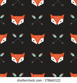 Seamless vector pattern with foxes and arrows