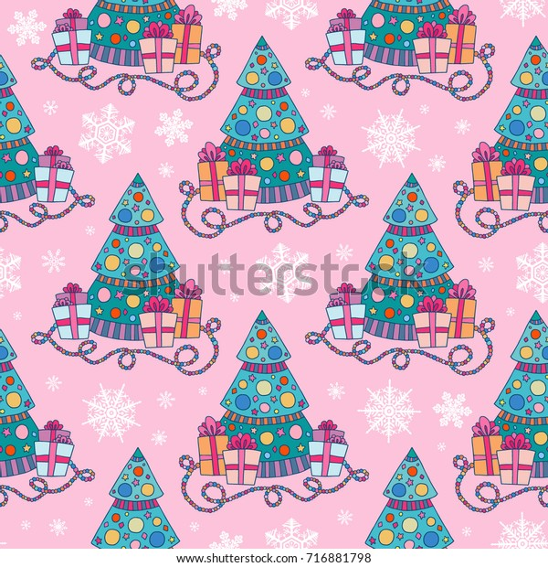 Seamless Vector Pattern Funny Cartoon Christmas Stock