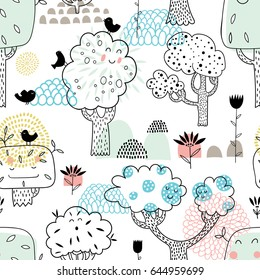 Seamless vector pattern with funny cute smiling trees