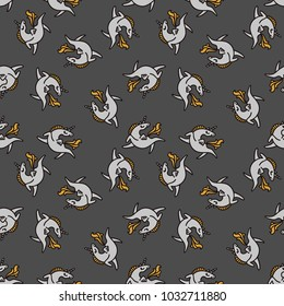 Seamless vector pattern with funny unicorn. Black, white and yellow. Happy illusttration. Good for childrens textille.