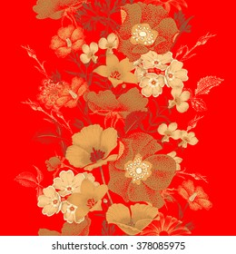 Seamless vector pattern of garden flowers in style of Chinese lacquer miniature. Gold plants on red background. Vintage. Design in oriental style. Roses, bluebells, daisies.