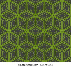 seamless vector pattern of geometric shape. for wallpaper, banner, fabric, textile, decor. green, grey color