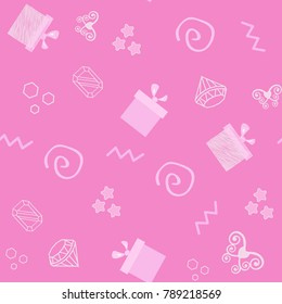 Seamless vector pattern with Gift boxes. pink simple design