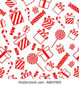 Seamless vector pattern with gift boxes and candies EPS8