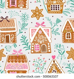 Seamless vector pattern with gingerbread houses and stars