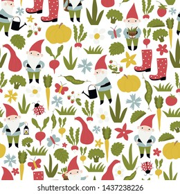 Seamless vector pattern with gnomes and vegetables.