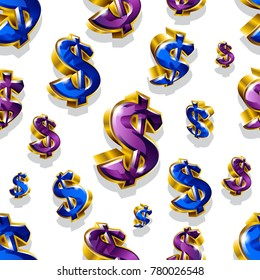 Seamless vector pattern with golden dollar signs. Can be used for wrapping, packaging, brochure, flyer, web and any kind of decoration.