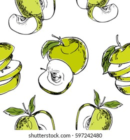 Seamless vector pattern with green apples on a white background.