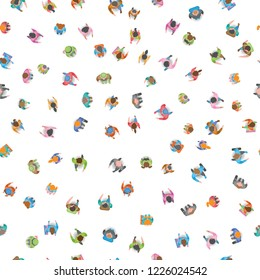 Seamless vector pattern. A group of social people. Top view. Crowding people. View from above.