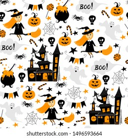 Seamless vector pattern for Halloween design. Halloween symbols: cute witch character on a broom, castle, spider, skull, candy, pumpkin, pot, boo lettering in cartoon style. Vector Illustration