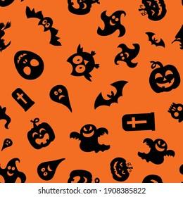 Seamless vector pattern for Halloween design. Halloween symbols: ghost, bat, pumpkin in cartoon style. Vector Illustration