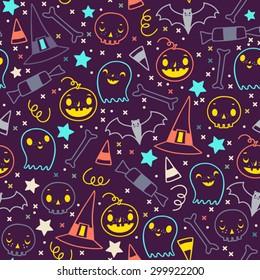 Seamless vector pattern of halloween elements. Cartoon skulls. Halloween elements for scrap-booking. Hand drawn vector illustration. Trick or treat.