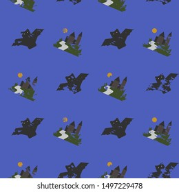 Seamless vector pattern with Halloween themed elements a sinister bat,pumpkin, castle  on a purple background