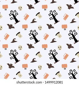 Seamless vector pattern with Halloween themed elements a sinister bat,pumpkin, tombstone,grave, skull, witch hat on a white background