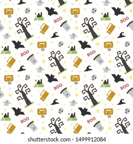 Seamless vector pattern with Halloween themed elements a sinister bat,pumpkin, tombstone,grave, skull, witch hat on a white background with text boo