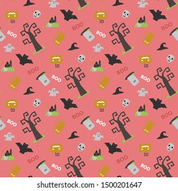 Seamless vector pattern with Halloween themed elements a sinister bat,pumpkin, tombstone,grave, skull, witch hat on a dark background with text boo