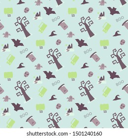 Seamless vector pattern with Halloween themed elements a sinister bat,pumpkin, tombstone,grave, skull, witch hat on a white background with