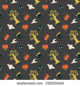 Seamless vector pattern with Halloween themed elements a sinister bat,pumpkin, tombstone,grave, skull, witch hat on a dark background