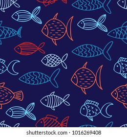 seamless vector pattern with hand drawn abstract fish