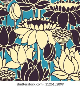 seamless vector pattern with hand drawn lotos flowers. design for textile, interior, print