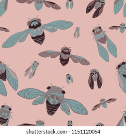 Seamless vector pattern with  hand drawn illustration of cicada . Flying insects on pink background.Kawaii cicada silhouette on pink background.