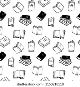 Seamless vector pattern with hand drawn books, notebooks