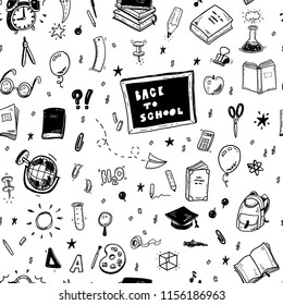 Seamless vector pattern with hand drawn back to school doodle icons set