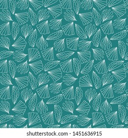 Seamless vector pattern with hand drawn motifs of corals and marine flora on turquoise background. Elegant surface pattern design for textiles, wallpaper, wrapping paper, fashion and interior design.