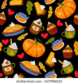 Seamless vector pattern with hand drawn drinks, pumpkin pie, sweets and pastry, leaves. Autumn holidays and thanksgiving day illustration in doodle style