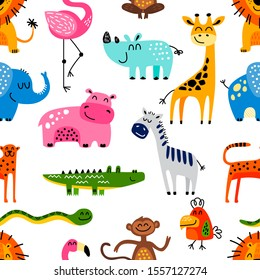 Seamless vector pattern with hand drawn baby animals.