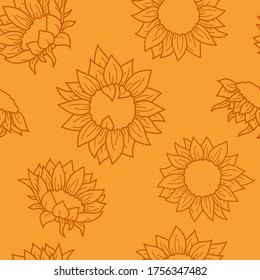 Seamless vector pattern with hand drawn sunflowers. Brown line objects on orange background. For invitation, package, banner, print, card, fabric, label, advertising, textile, wrapping paper, web.