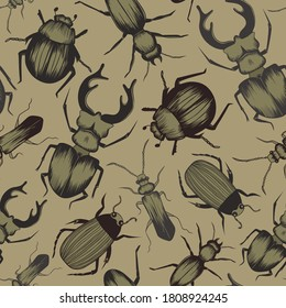 Seamless vector pattern with hand drawn beetles. Wallpaper, textile, print design