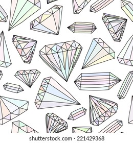 Seamless vector pattern of hand drawn colorful jewels