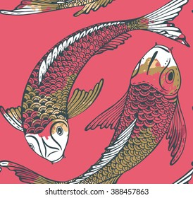 Seamless vector pattern with hand drawn Koi fish (Japanese carp) and watercolor texture. Symbol of love, friendship and prosperity. Beautiful endless background