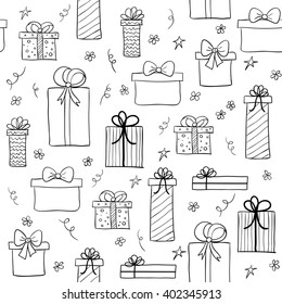 Seamless vector pattern with hand drawn gift boxes. May be used as a coloring book