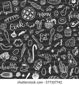 Seamless vector pattern with hand drawn food on a chalkboard background